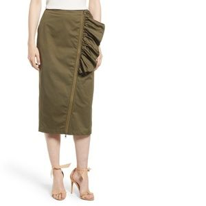 Chelsea28 Medium Green Straight Pencil Skirt Midi